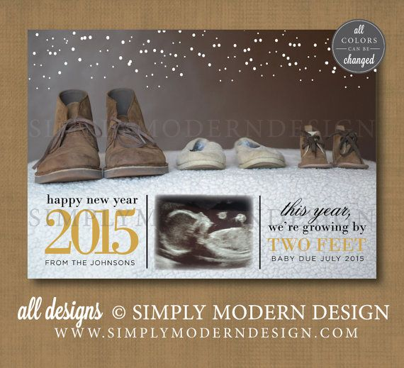 new year card pregnancy announcement growing by two feet holiday card new baby wwwsimplymoderndesigncom