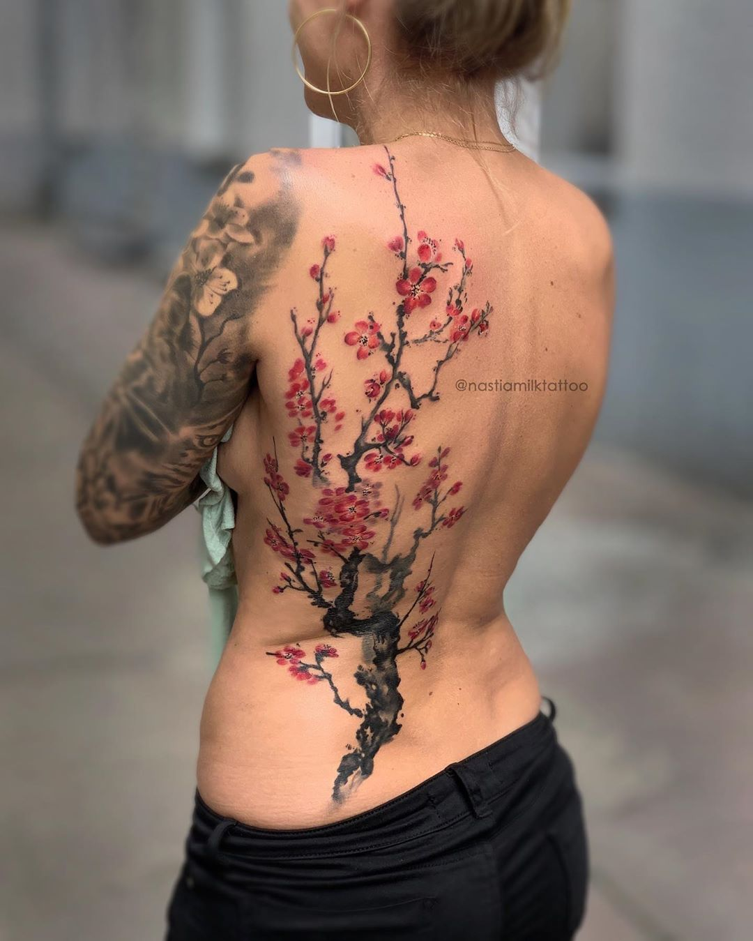 Cherry Blossom Back Piece Dm Me To Book And Appointment Cherryblossomtatt Cherry Tree Tattoos Cherry Blossom Tree Tattoo Blossom Tree Tattoo