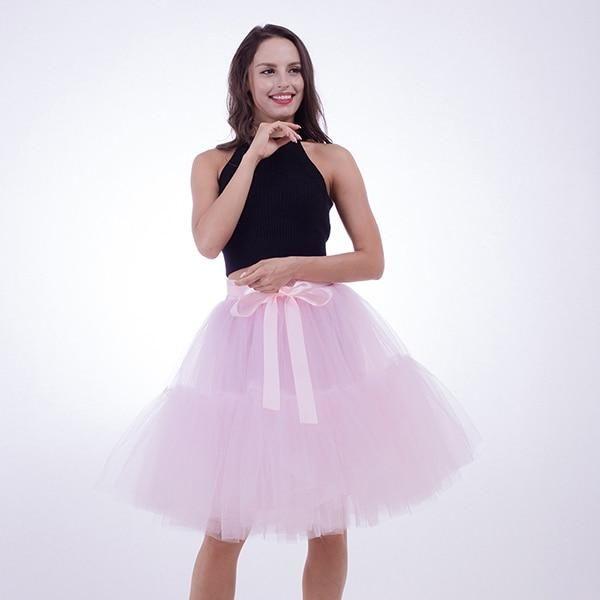 ac97beed97 Petticoat 5 Layers 60cm Tutu Tulle Skirt Vintage Midi Pleated Skirts Womens  Lolita Bridesmaid Wedding faldas Mujer saias jupe