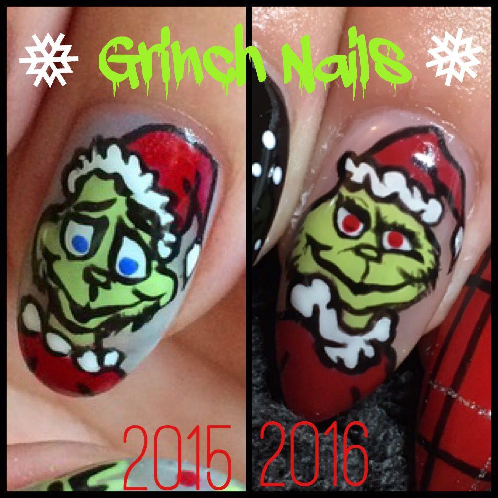 Nail art gel nails acrylic nails grinch nails Xmas nails Christmas ...