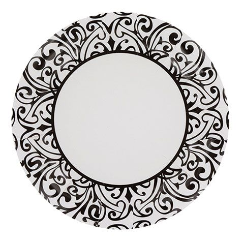 Bulk White Paper Party Plates with Black Damask Patterns 7  20-ct. Packs at DollarTree.com  sc 1 st  Pinterest & Bulk White Paper Party Plates with Black Damask Patterns 7
