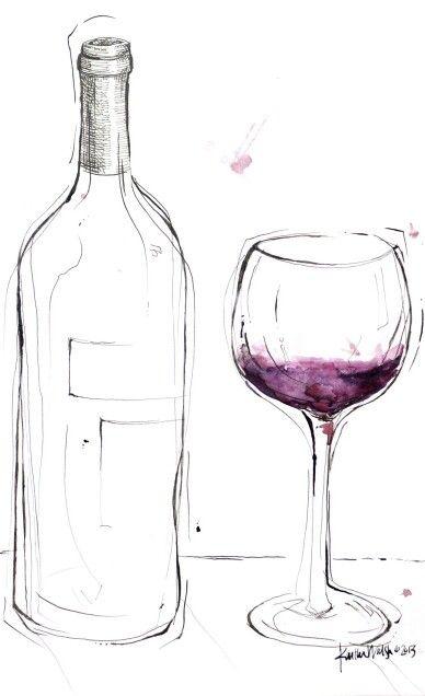 Wine Bottle Glass Art Drawing Via Etsy By Lyonroad Cpurples Wine Glass Drawing Wine Art Wine Glass Art