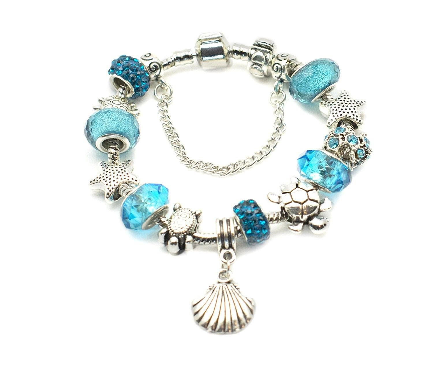 European ocean beach charm beaded bracelet for women and teen girls