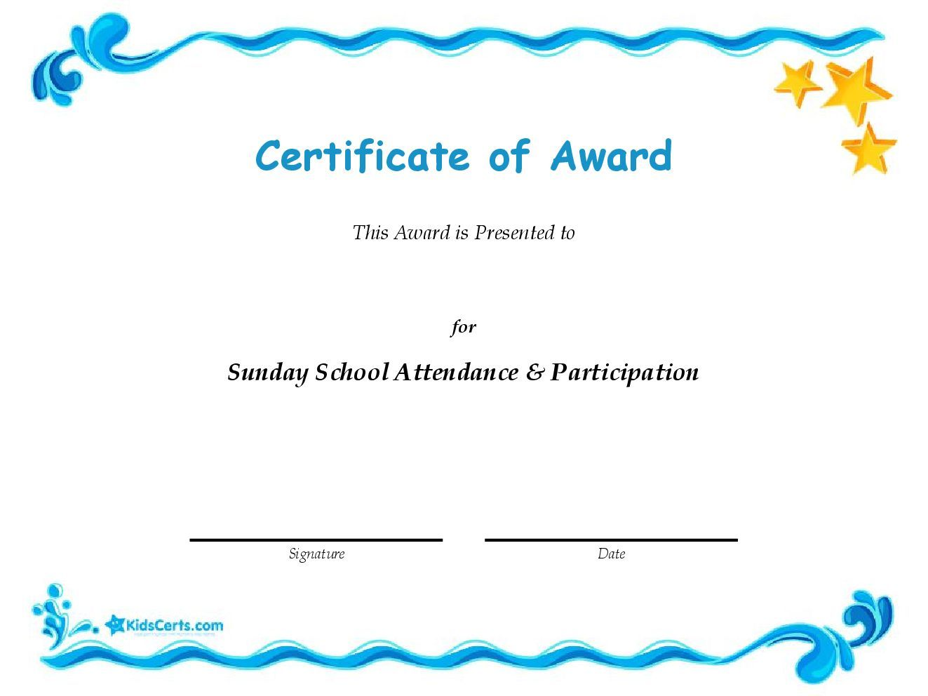 Personalised 100% Attendance Certificates
