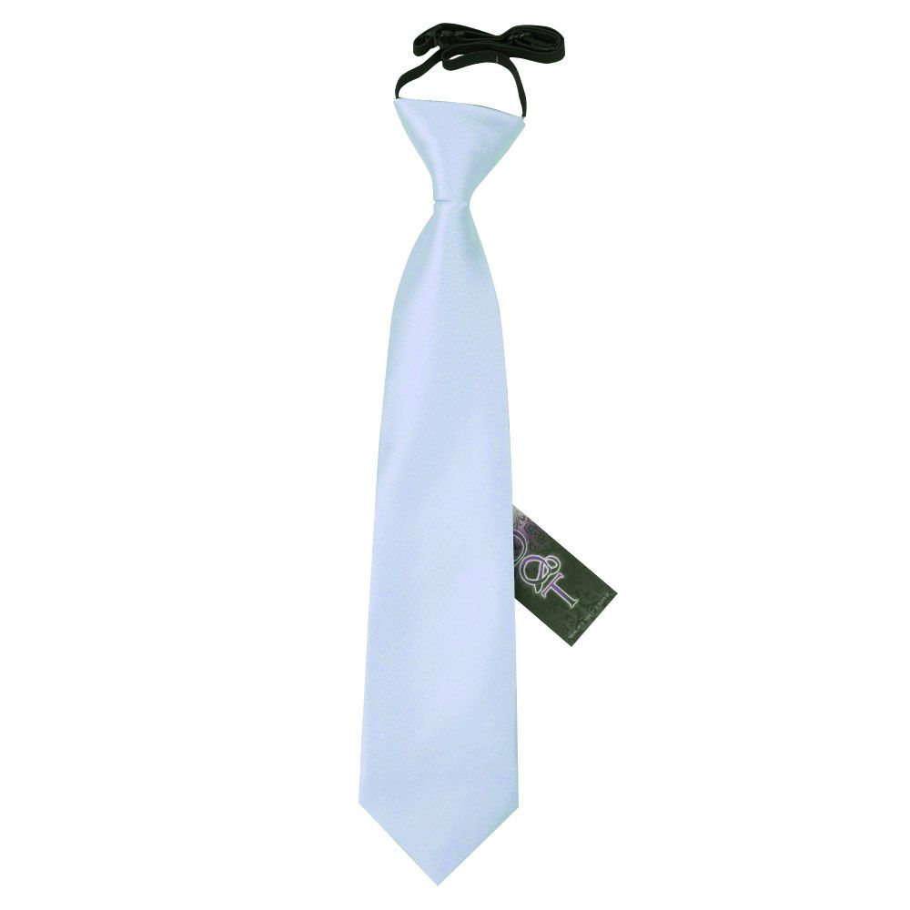 DQT Satin Plain Solid Electric Blue Kids Elasticated Pre-Tied Page Boys Tie