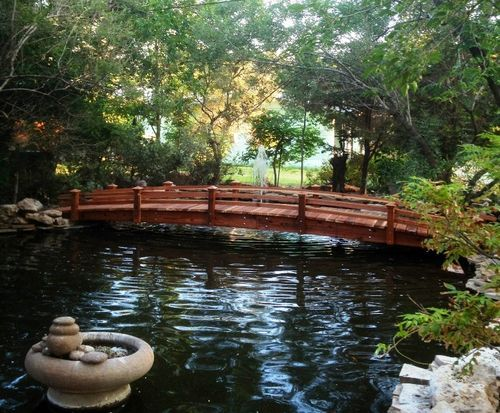 Beautiful 25 Foot Short Post Koi Pond Bridge   By Gardengridges @ LumberJocks.com ~  Woodworking