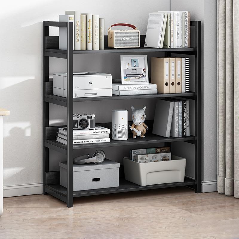 4 Tier Bookshelf Tall Wood Bookcase - Black