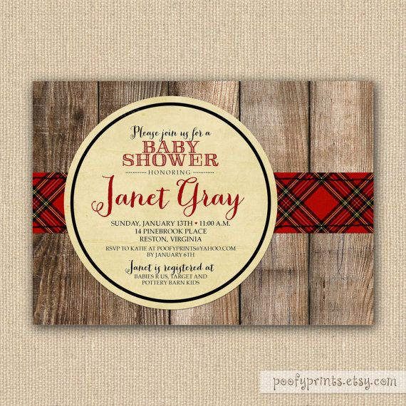 Red Plaid Baby Shower Invitations - Printable Fall Plaid Bridal Shower Invitations. $24.00, via Etsy.