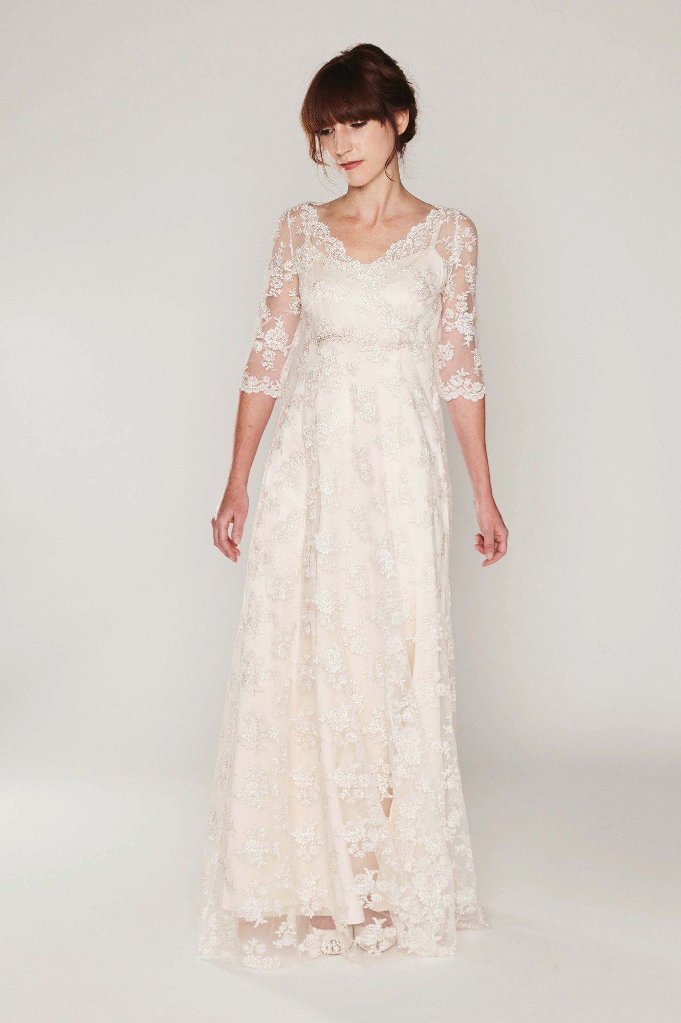 Sarah  Brautkleid empire stil, Hochzeitskleider spitze und Kleid