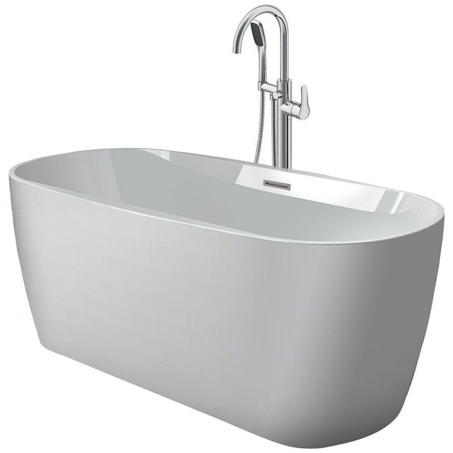 Jacuzzi Comfort White Acrylic Oval Freestanding Bathtub with Center ...