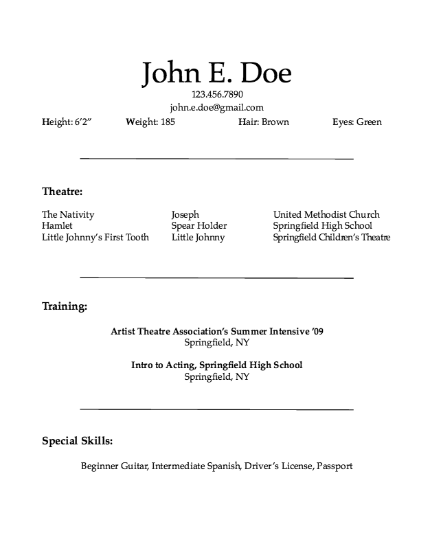 Child Acting Resume Sample  HttpResumesdesignComChildActing