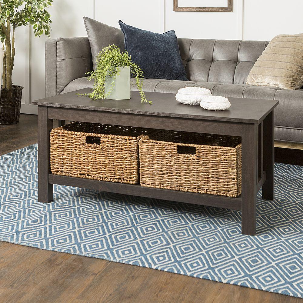 Walker Edison Coffee Table With Wicker Storage Baskets Espresso Bb40mstes Best Buy In 2021 Coffee Table Coffee Table Wood Coffee Table With Drawers [ 1000 x 1000 Pixel ]