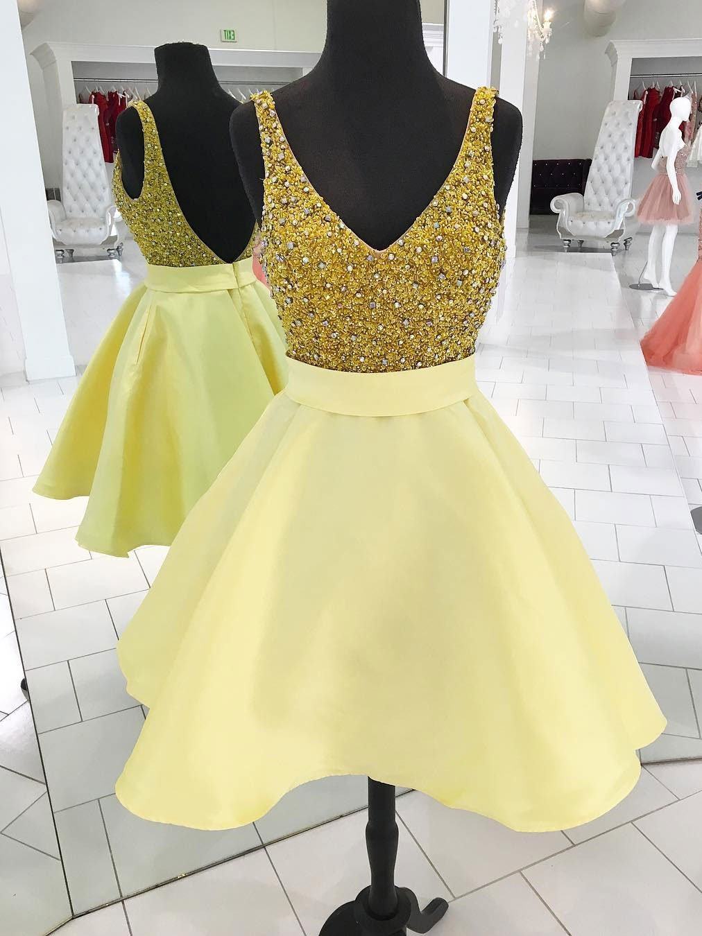 Aline vneck mini satin rhine stone sequined homecoming dresses