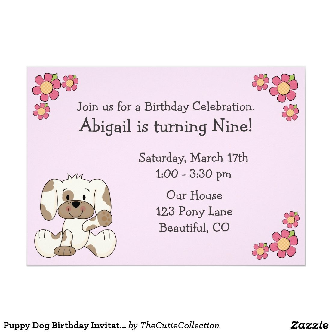 Puppy Dog Birthday Invitations for Girls | Our Zazzle Sales ...