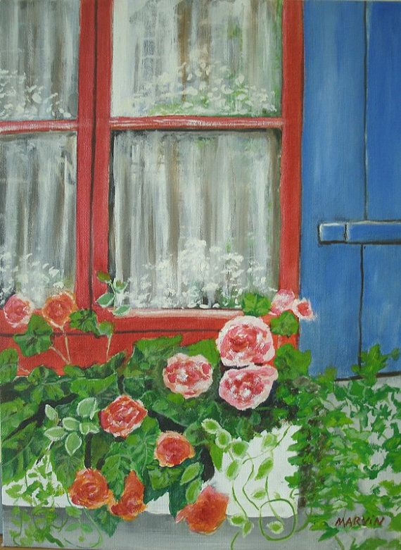 Original Oil Painting Window Box With Flowers Red By Marvinstudio 35 00 Window Painting Original Paintings For Sale Original Oil Painting