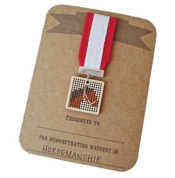Horsemanship cross stitch badge by notsomodernmillie on Etsy