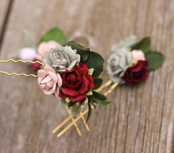 701f39bed090 Burgundy Hair Pins Flowers Gray Wedding Hair Pins Mauve