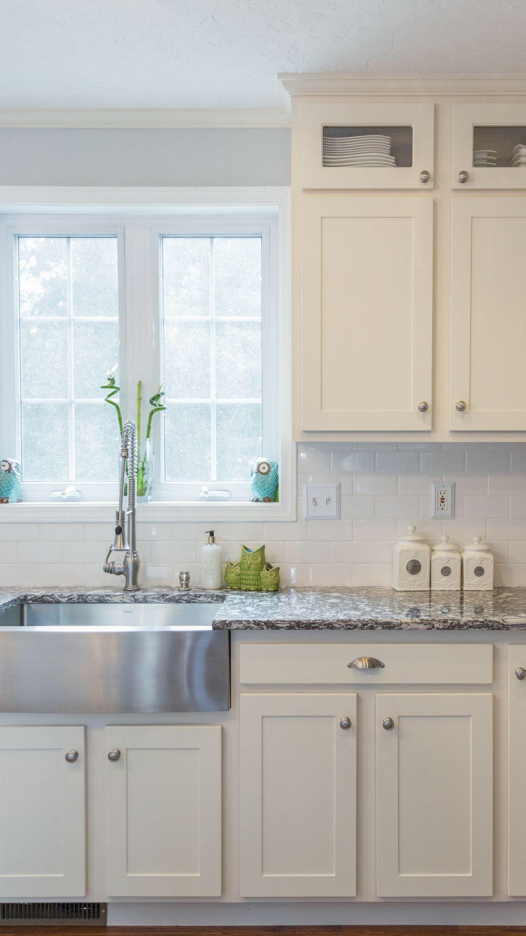 Kitchen Magic Cabinet Refacing: Cabinets in Antique White, Cambria ...