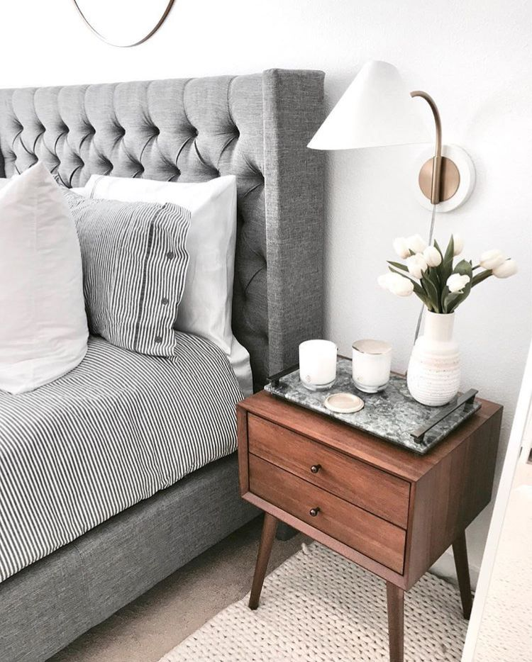 Gray Upholster Bedframe West Elm Mid Cen Night Stand House In