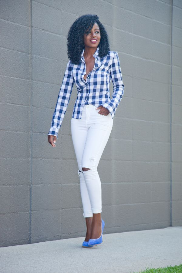 Best Gingham Button Down Shirt Distressed White Jeans Style 640 x 480