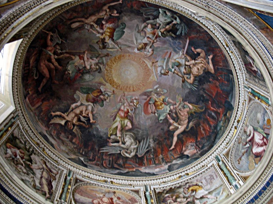 Sistine Chapel Ceiling Painting Angels Angles With