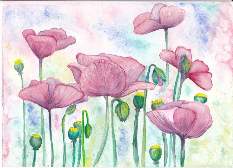 цветет финиковая легкие рисунки акварельными карандашами поэтапно есть
