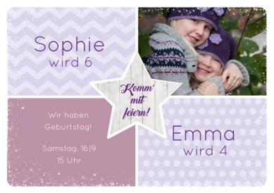 Süße Einladungskarte mit Foto in Pastellfarben für kleine