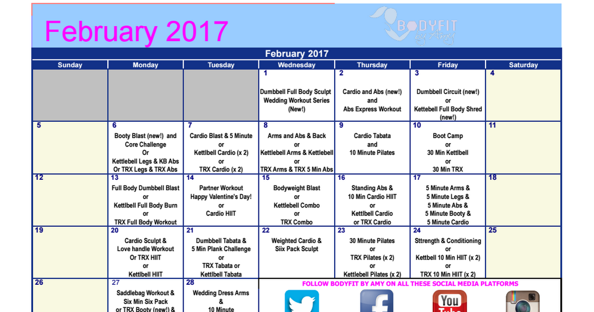 Body By Amy  February  Workout Calendar  Exercise