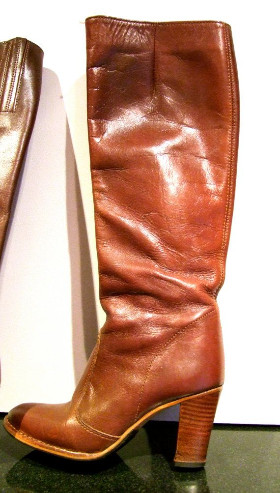 ce72d633d5c Womens 80s 90s Vintage Knee High Boots Stacked heel size 6