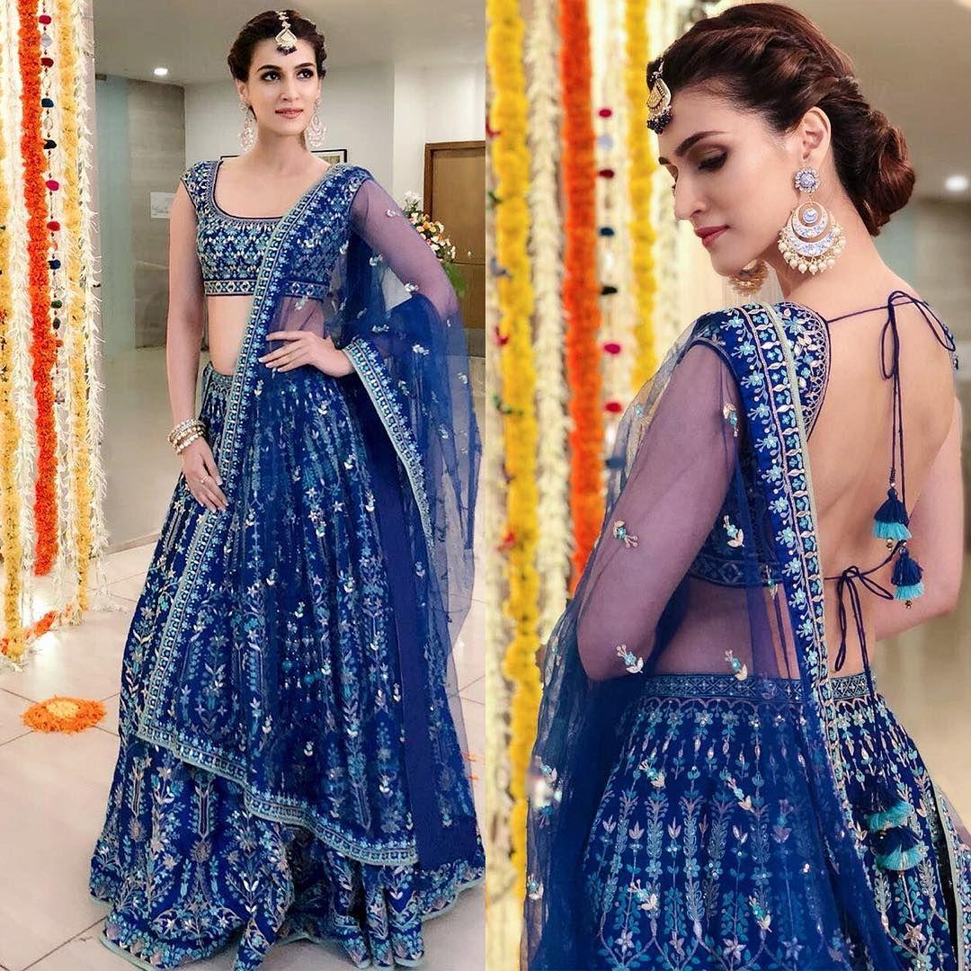 kritisanon dressed in this stunning blue #AnitaDongre lehenga ...
