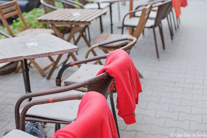 tables with red blankets in Sofia, Bulgaria