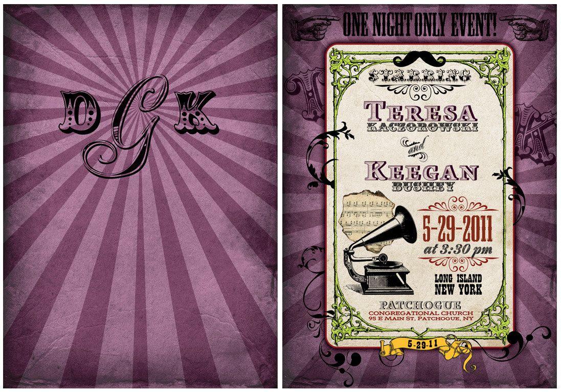 vintage wedding card design template%0A Vintage Wedding Invitation Suite  Vaudeville themed
