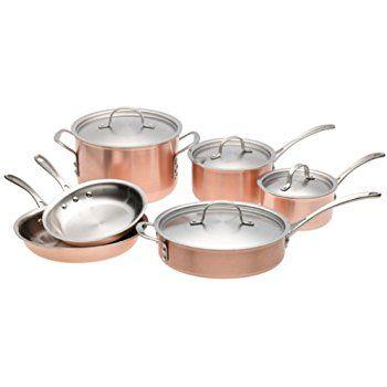 Calphalon Tri Ply Copper 10 Piece Set Copper Cookware Set Copper Cookware Safest Cookware