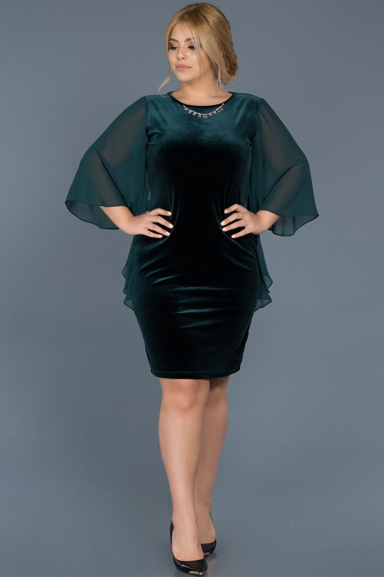 Zumrut Yesili Kadife Kolye Detayli Buyuk Beden Elbise Abk304 Elbise The Dress Mini Elbiseler