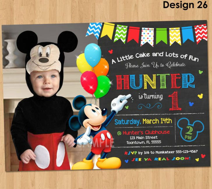 Birthday Mickey Mouse 1st Invitation Boy Chalkboard Photo