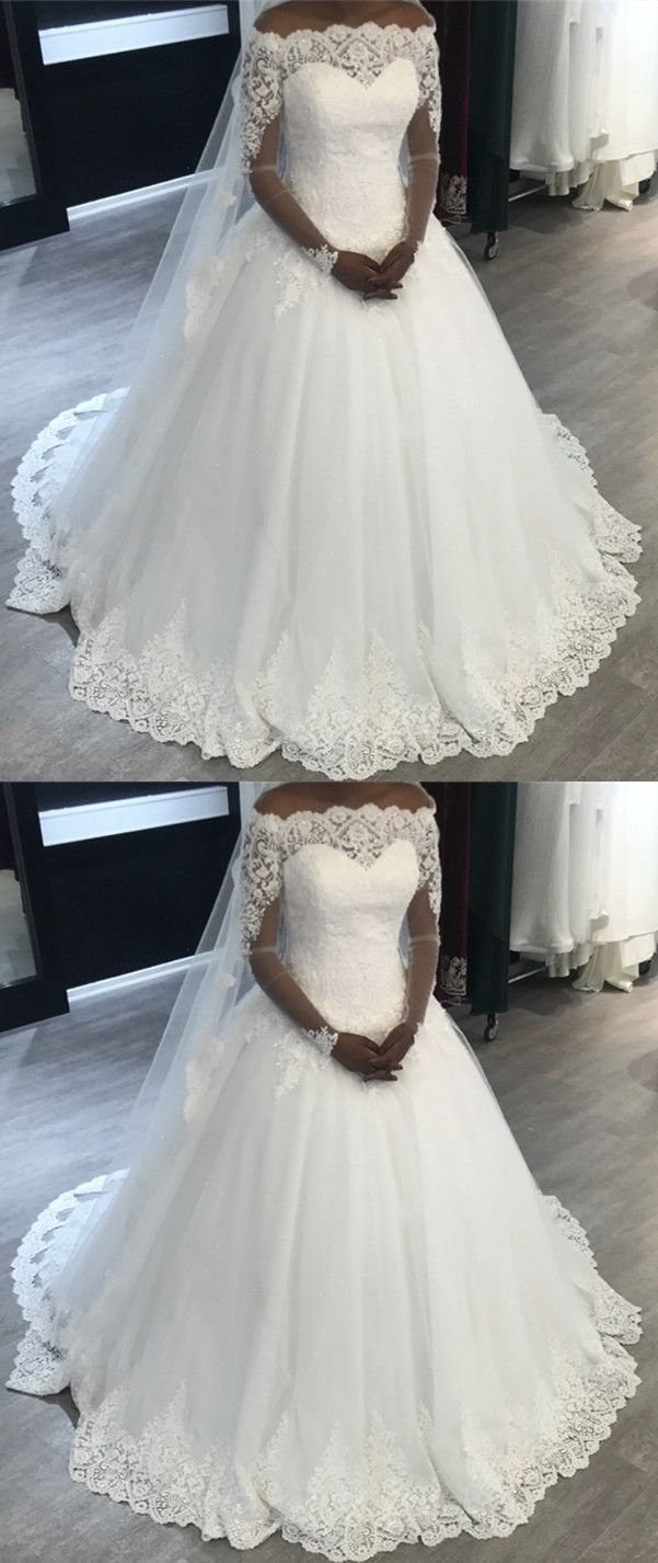 Lace off shoulder ball gowns long sleeves wedding dresses in