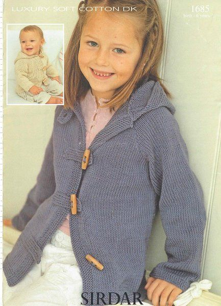 Sirdar 1685 Baby Childrens Cardigan Hoodie Knitting Pattern