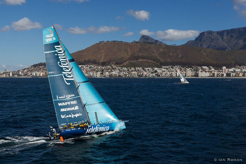 SOUTH AFRICA. 11th December 2011. Volvo Ocean Race. Start of Leg 2, Cape Town to Abu Dhabi. Team Telefonica.