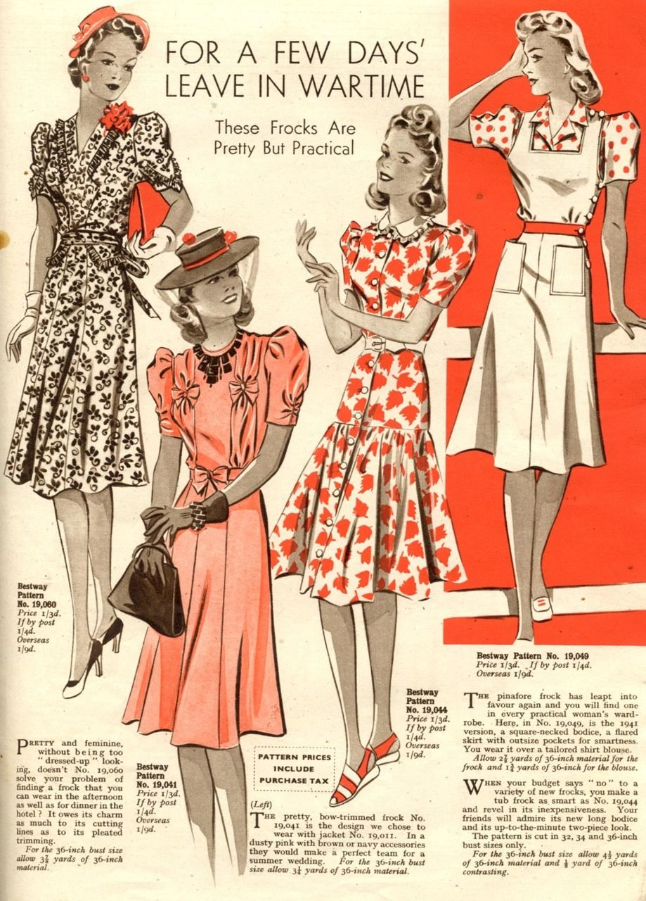 Bust 36 1940/'s Slim-line Day Frocks WW2 Sewing Pattern