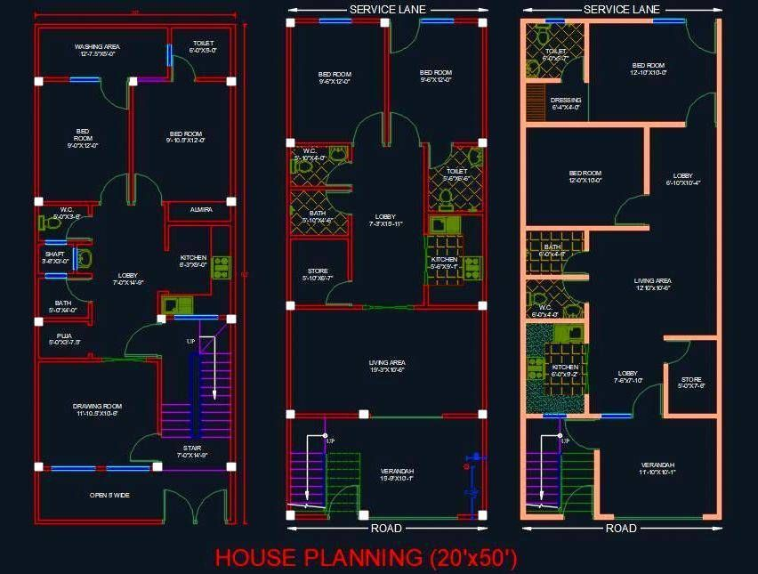 House Architectural Planning Floor Layout Plan 20 X50 Dwg File Drawing House Plans Floor Layout House Design Drawing
