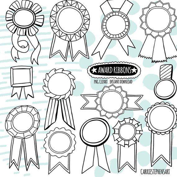 Doodle Award Ribbon Black White Lineart Digital Graphic Etsy Award Ribbon Award Ribbons Award Template