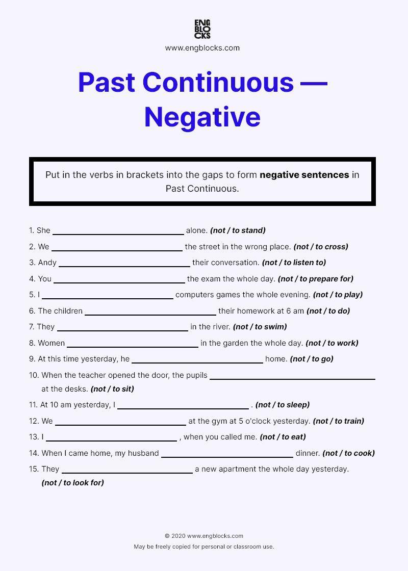 Worksheet On Past Continuous Tense Negative Sentences English Grammar Negativity English Grammar Continuity [ 1120 x 800 Pixel ]