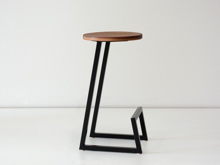 Low solid wood stool with footrest corktown low stool hollis