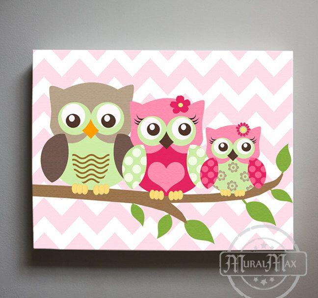 Owl Decor Girls wall art  Owl canvas art  Owl Nursery  by MuralMAX, $51.00