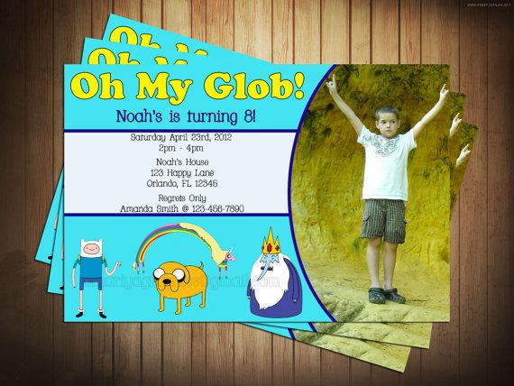Adventure Time Glob Birthday Invitation with Photo of Your Child