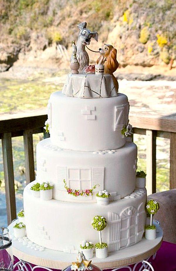Lady And The Tramp Disney Wedding Cake Fondant Wedding Cakes Wedding Cake Designs