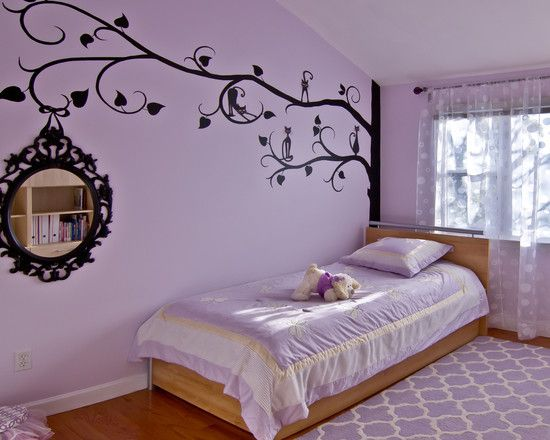 Bedroom wonderful purple teenage room for girls with Teenage bedroom wall designs