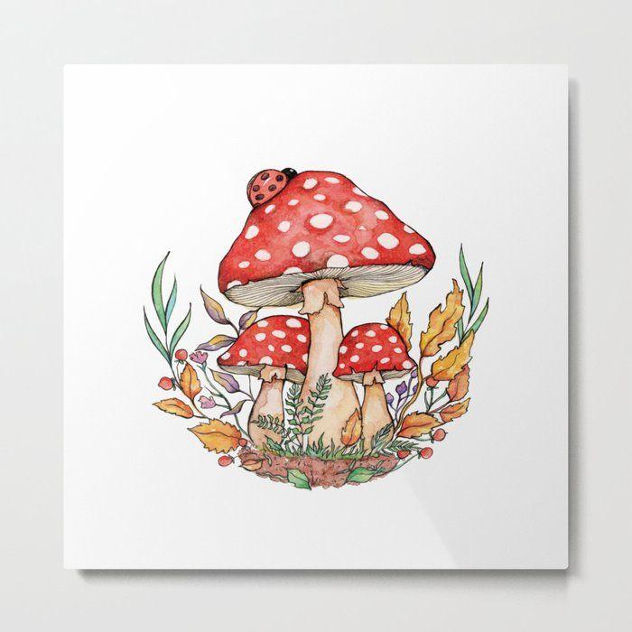 Watercolor Mushrooms Metal Art Print by Aishwarya Vohra - Large