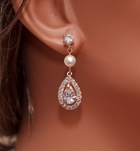"""Collection Rose Gold Swarovski Pearl and CZ Bridal Earrings Beautiful earrings are handmade with sparkling Cubic Zirconia crystals, finished with Swarovski pearls Earrings measure about 1 1/2"""" long Available in rose gold, yellow gold, and white gold plated finish"""