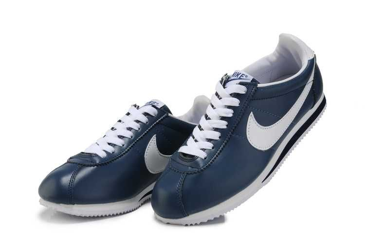 blue leather nike cortez